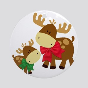 Merry Chris Moose Mom and Baby Round Ornament