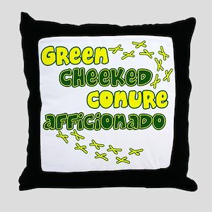 afficionado_greencheek Throw Pillow