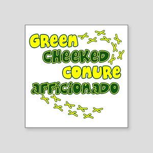 "afficionado_greencheek Square Sticker 3"" x 3"""