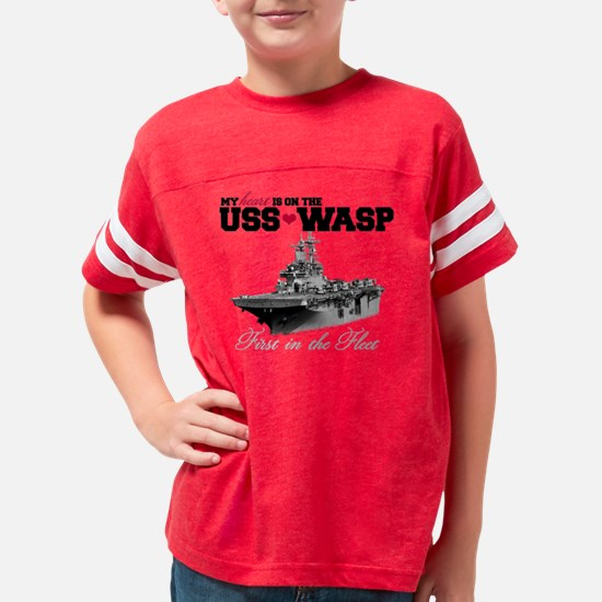 My Heart Is On The USS Wasp Youth Football Shirt