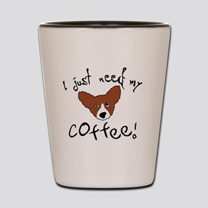 corgi_needcoffee_bowl Shot Glass