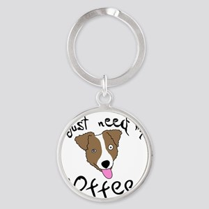 jackrussell_coffee_bowl Round Keychain