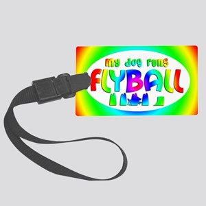 runsflyball_rainbow_oval Large Luggage Tag