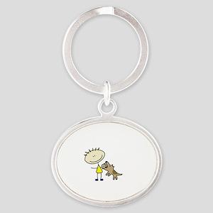 lifeisgreat_schutzhund_blk Oval Keychain