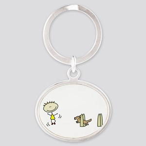 lifeisgreat_flyball_blk Oval Keychain