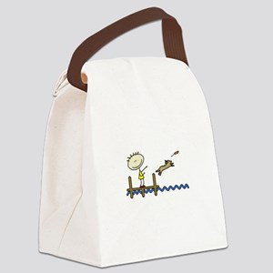 lifeisgreat_dockjumping_blk Canvas Lunch Bag