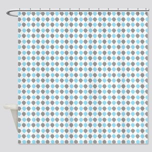 Blue and Gray retro pattern Shower Curtain