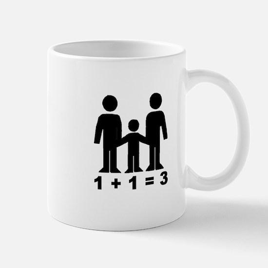 1 + 1 = 3 (graphic of family) Mug