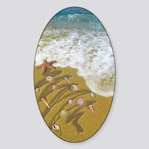 Christmas Seashells and Tree Washed Sticker (Oval)