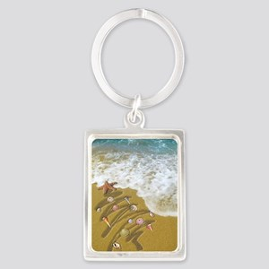 Christmas Seashells and Tree Was Portrait Keychain