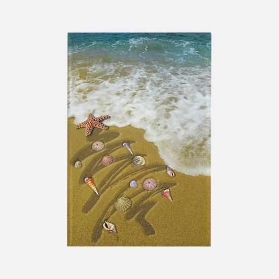 Christmas Seashells and Tree Wash Rectangle Magnet