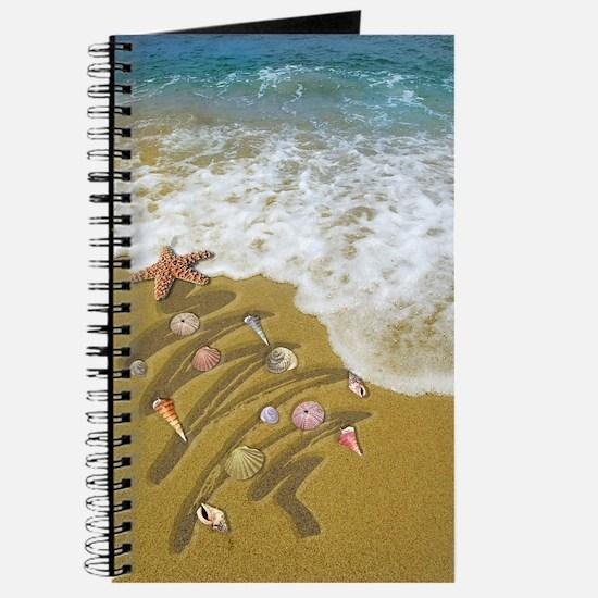 Christmas Seashells and Tree Washed Up on  Journal