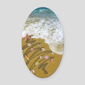 Christmas Seashells and Tree Washe Oval Car Magnet