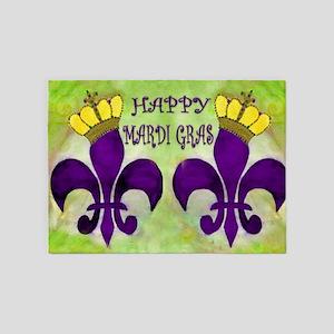 Mardi Gras Crowned Fleur de lis 5'x7'Area Rug