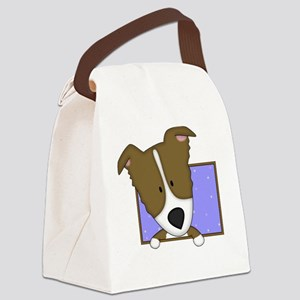 2-bordercolliebrn_drawing Canvas Lunch Bag