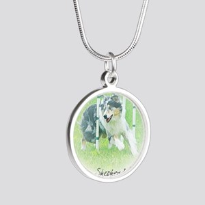 aussie_agility Silver Round Necklace