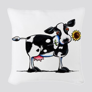 Sunny Cow Woven Throw Pillow