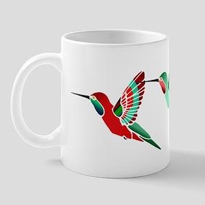 Red and Green Tropical Christmas Hummin Mug