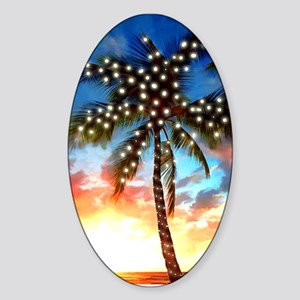 Palm Tree Stamp at Sunset with Chri Sticker (Oval)