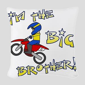 moto_bigbrother_blk Woven Throw Pillow