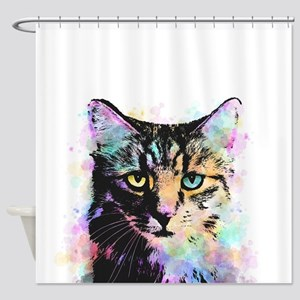 Cat 618 white Shower Curtain