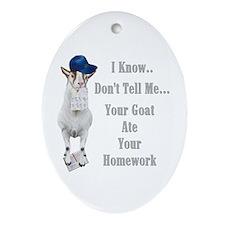 Goat Ate Homework for Teacher Oval Ornament