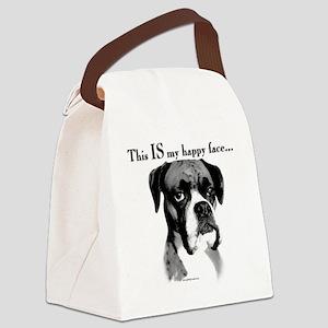 Boxer Happy Face Canvas Lunch Bag