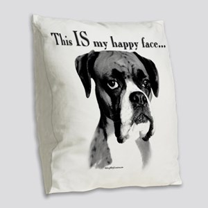 Boxer Happy Face Burlap Throw Pillow