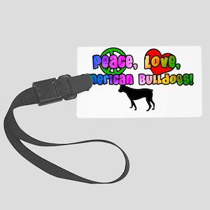 americanbulldog_hippiemug Large Luggage Tag