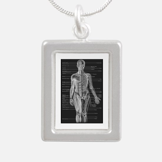Human Anatomy Chart Silver Portrait Necklace