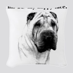 Chinese Sharpei Happy Face Woven Throw Pillow