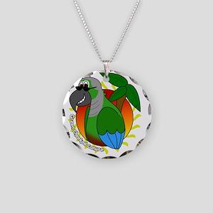 cartoon_greencheek_blk Necklace Circle Charm