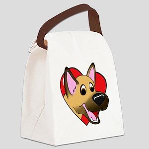 heartgermanshep_blk Canvas Lunch Bag
