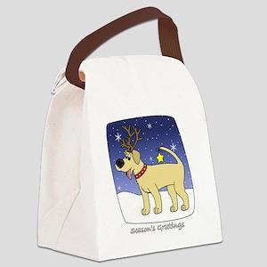 xmaslab_yellow_blk Canvas Lunch Bag