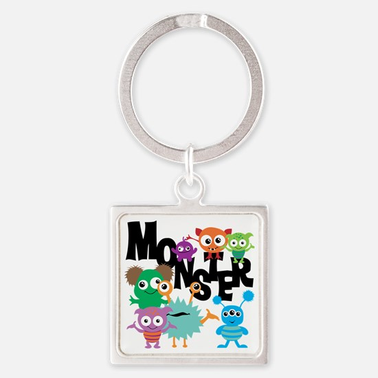 Monsters Square Keychain