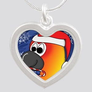 candycane_sunconure_ornament Silver Heart Necklace