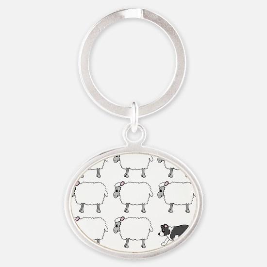 bordercollie_herding_blk Oval Keychain
