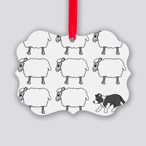 bordercollie_herding Picture Ornament