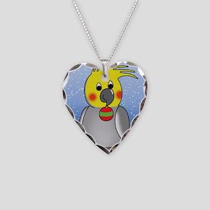 cockatiel_snow_holidays_card Necklace Heart Charm