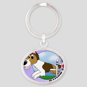 sheltie_lovesagility_oval Oval Keychain