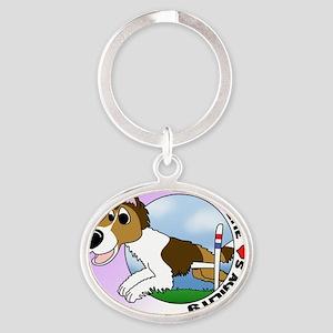 sheltie_lovesagility_ornament Oval Keychain