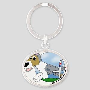 sheltie_lovesagility_merle Oval Keychain