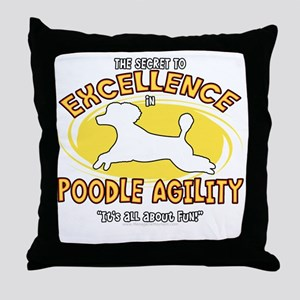 poodle_excellence_blk Throw Pillow
