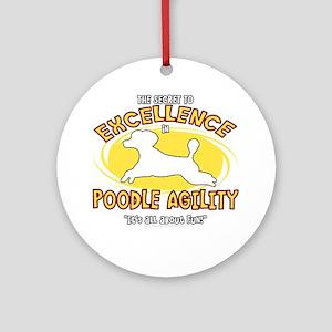 poodle_excellence_blk Round Ornament