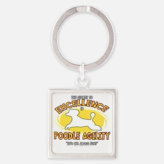 poodle_excellence_blk Square Keychain