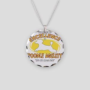 poodle_excellence_blk Necklace Circle Charm