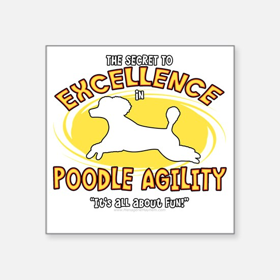 "poodle_excellence_blk Square Sticker 3"" x 3"""