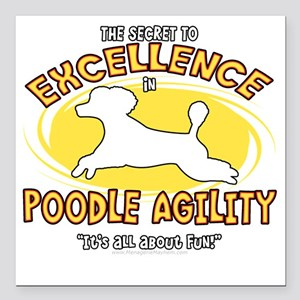 "poodle_excellence_blk Square Car Magnet 3"" x 3"""