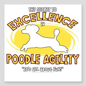 """poodle_excellence_blk Square Car Magnet 3"""" x 3"""""""