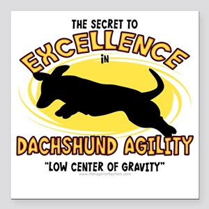 """dachshund_excellence Square Car Magnet 3"""" x 3"""""""